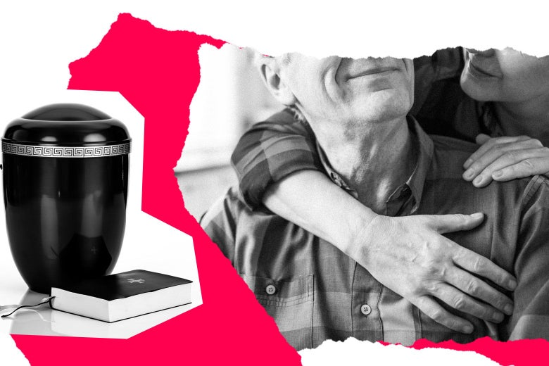Collage of an older couple next to an urn for ashes.