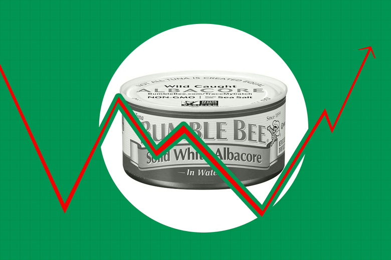 Can of Bumble Bee tuna seen against the backdrop of a stocks chart