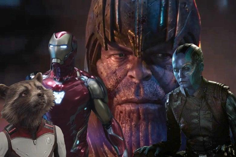 Collage of Avengers: Endgame characters like Thanos, Rocket Raccoon, Iron Man, and Nebula.