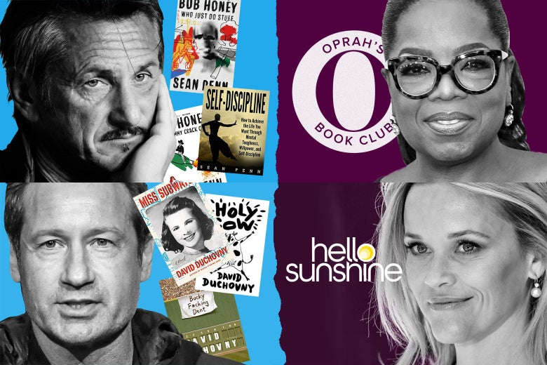 Photo illustration of Sean Penn and David Duchovny with books they've written next to Oprah and Reese Witherspoon with their book club logos.