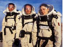 (from left) Members of the cookie supply module retrieval EVA         team, from left, Gregorio Drayer, Greg Michael, Alyssa Rzeszutko