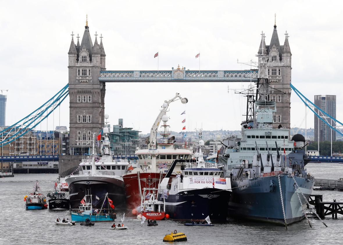 A flotilla of fishing vessels campaigning to leave the European Union