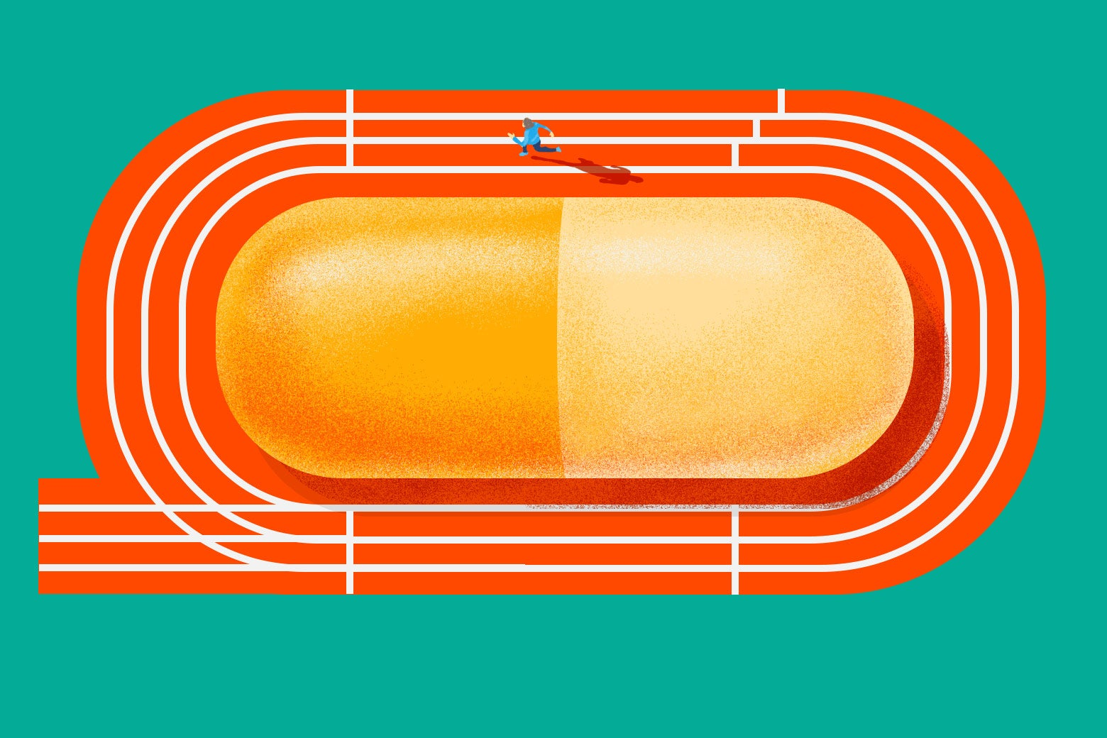 In an illustration, a person runs around a track with a huge pill in the middle of it.