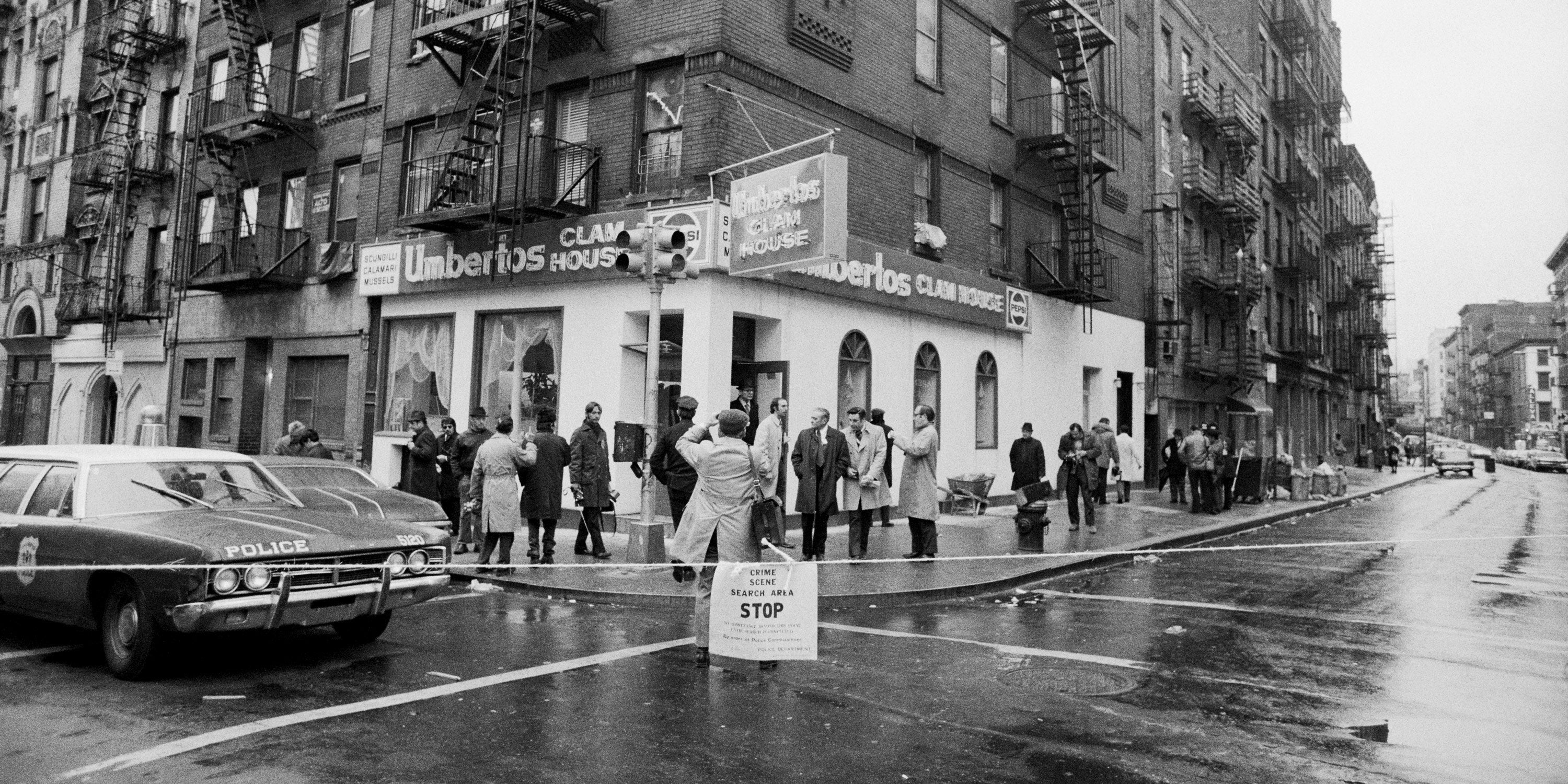 "The crime scene at Umberto's Clam House in Little Italy, where ""Crazy Joe"" Gallo was shot and killed, April 7, 1972. Frank Sheeran later claimed he committed the murder."