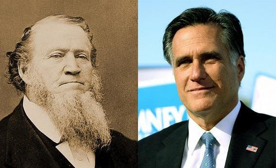 Brigham Young (left) and Mitt Romney (right)