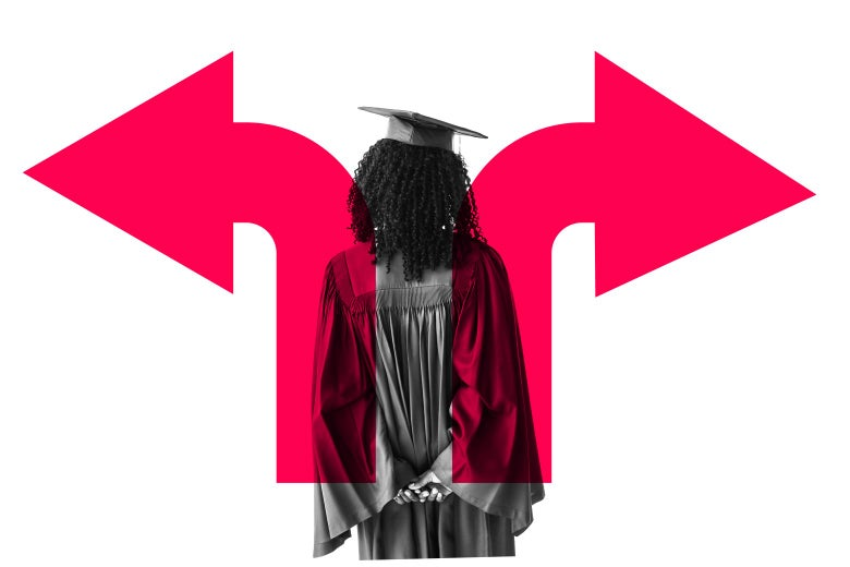 Woman in a cap and gown overlaid by two arrows pointing different directions