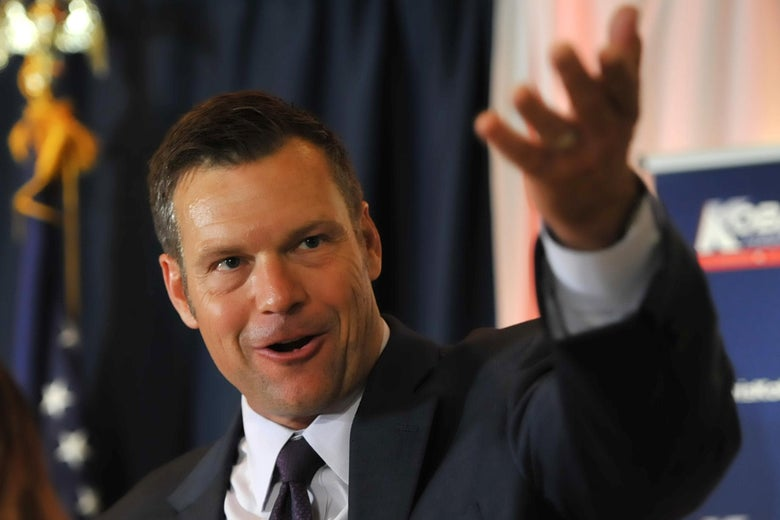 Kris Kobach speaks to supporters on primary night.