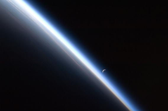 Crescent Moon and Earth seen from space