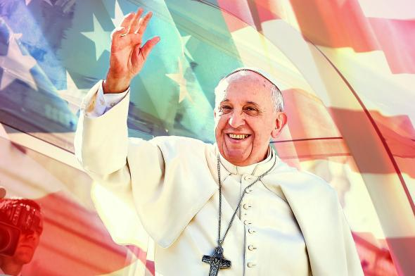 Pope Francis waves to engaged couples from all over the world.