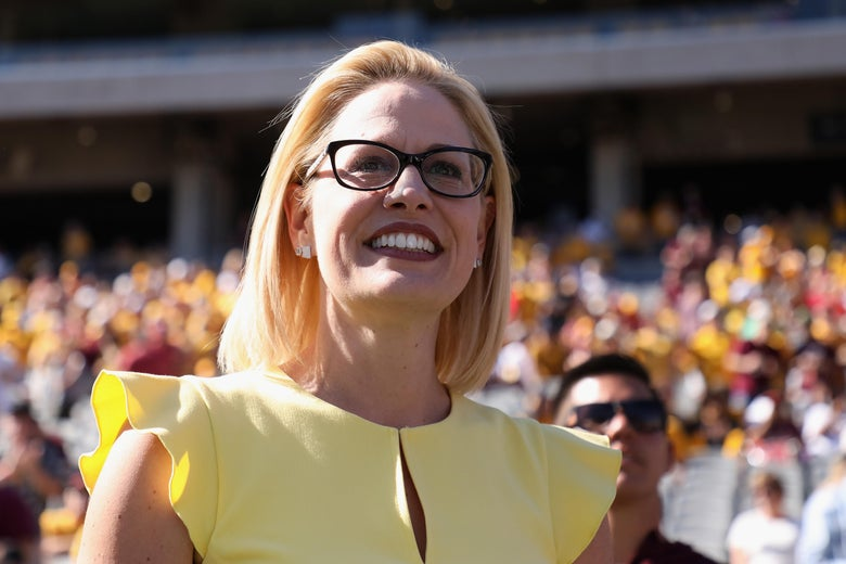 Democratic Senate candidate Kyrsten Sinema at an Arizona State Sun Devils football game on Nov. 3, 2018 in Tempe, Arizona.