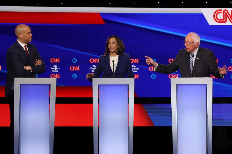 Cory Booker, Kamala Harris, and Bernie Sanders debate.