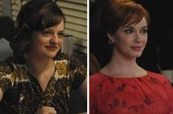 Peggy Olson (Elisabeth Moss) and Joan Harris (Christina Hendricks). Click image to expand.