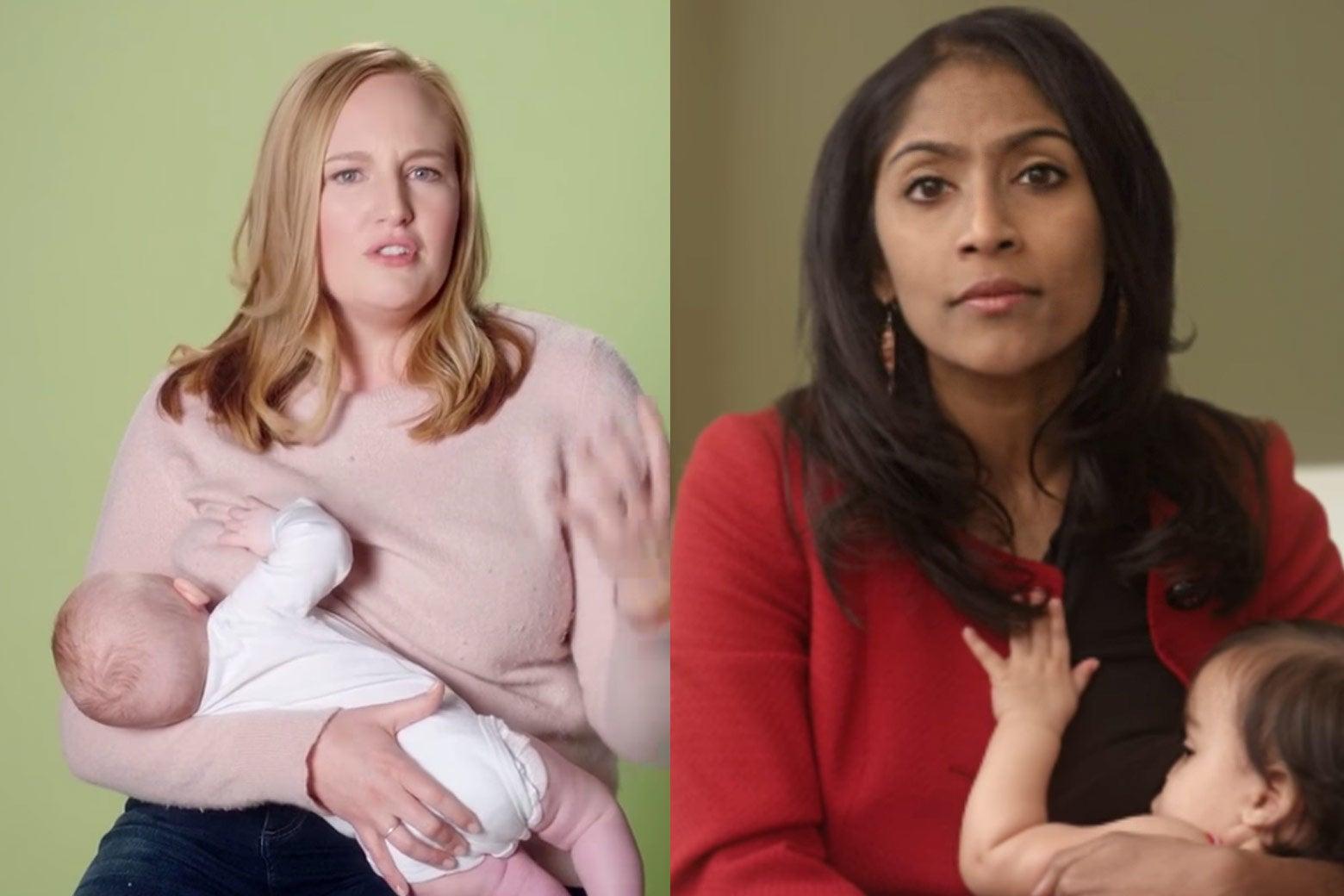 Splitscreen of Kelda Roys and Krish Vignarajah breastfeeding in their campaign ads.