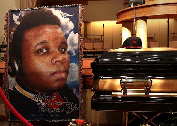 The casket of Michael Brown.