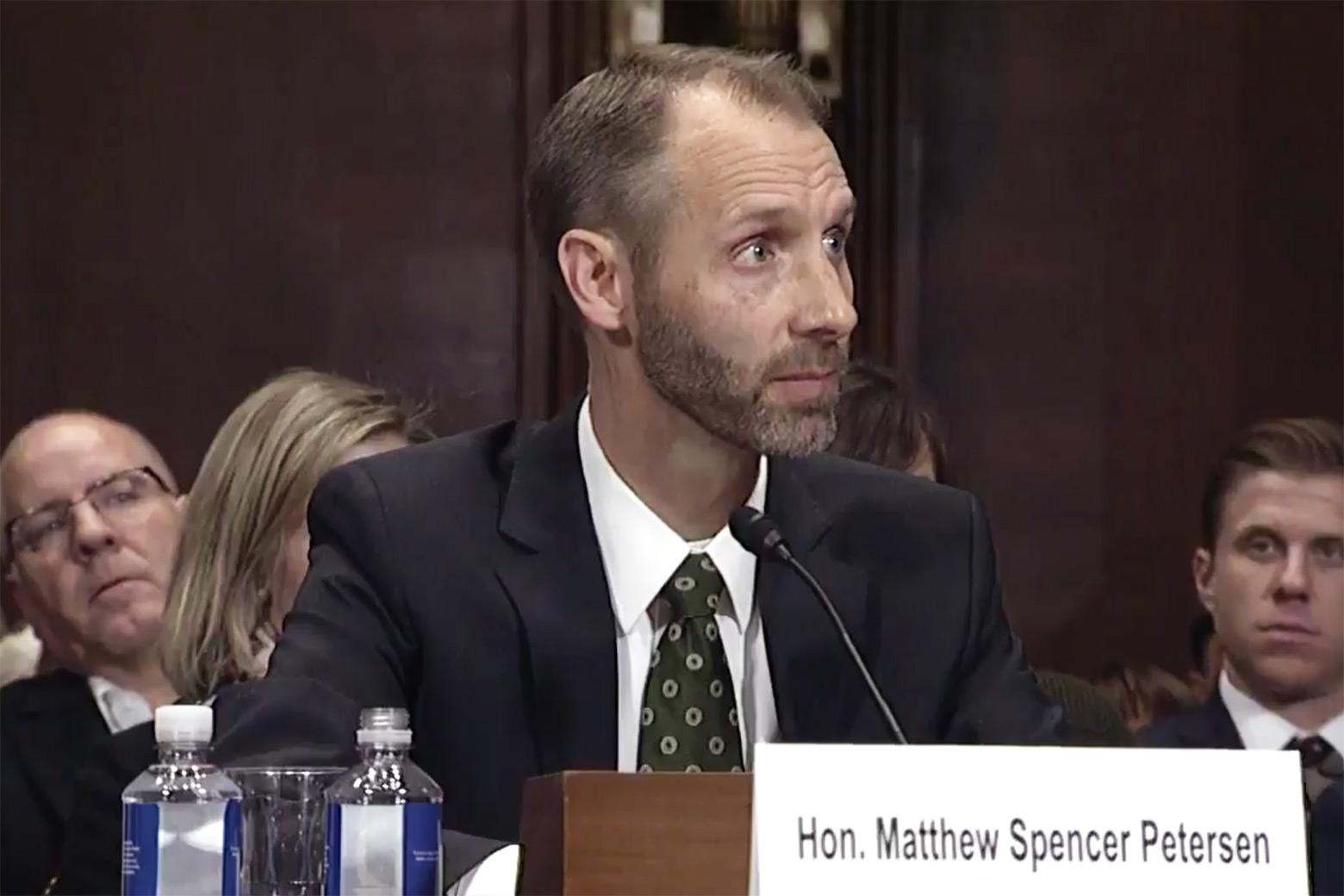 Matthew Spencer Petersen answers questions during a hearing of the Senate Judiciary Committee on Wednesday.