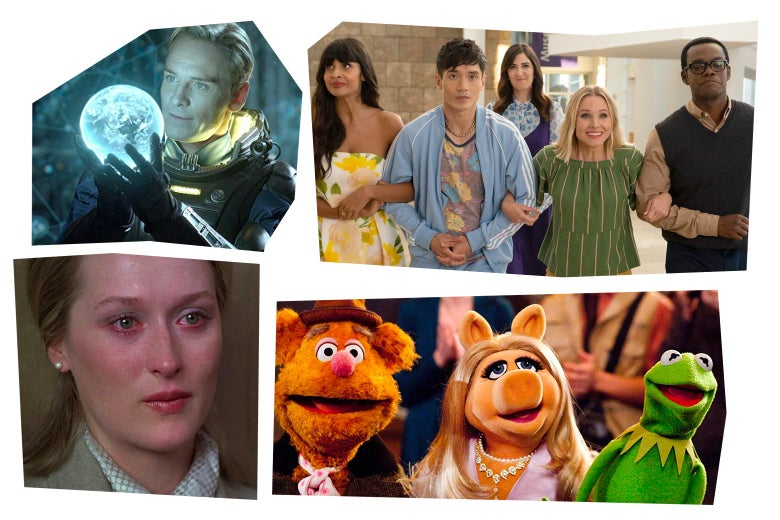 Stills from each of the movies in a mosaic art style: Meryl Streep with red-rimmed eyes; Michael Fassbender holding a glowing white orb; the cast of The Good Place linking their arms together; and Fozzie Bear with Miss Piggy and Kermit the Frog.