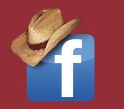 Illustration of facebook logo wearing a cowboy hat.