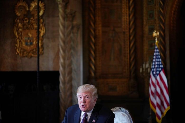 President Donald Trump speaks to the press.