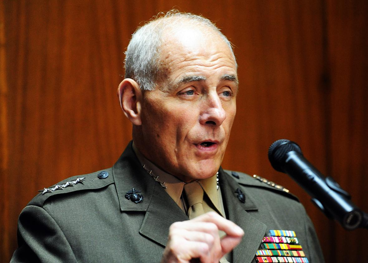 US Southern Command commander General John F. Kelly speaks during a press conference on July 30, 2014 at the National Defense Ministry in Asuncion.
