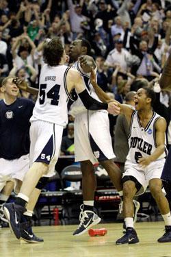 Butler Bulldogs celebrate their win.