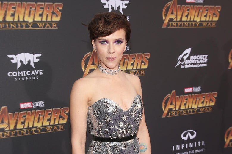 Scarlett Johansson at the premiere for Avengers: Infinity War.