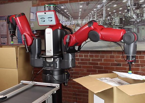 The industrial robot Baxter uses a vacuum gripper to pack parts in an order.