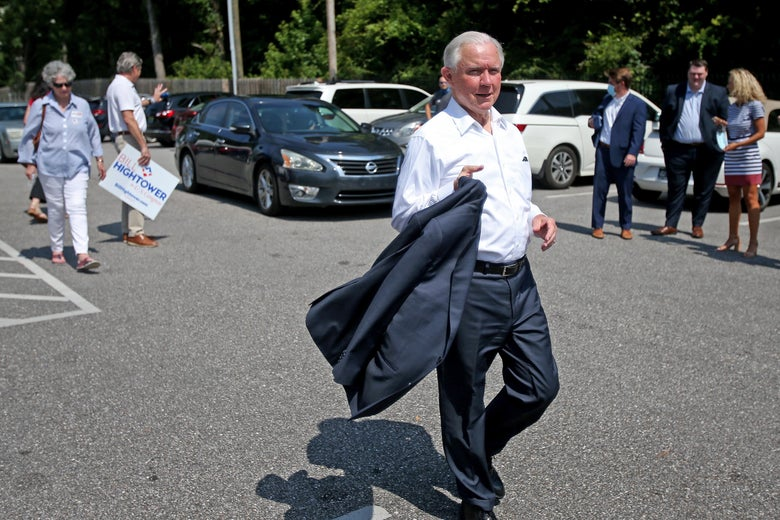 Jeff Sessions leaves after voting in the Alabama Republican primary runoff for the U.S. Senate at the Volunteers of America Southeast Chapter on July 14, 2020 in Mobile, Alabama.