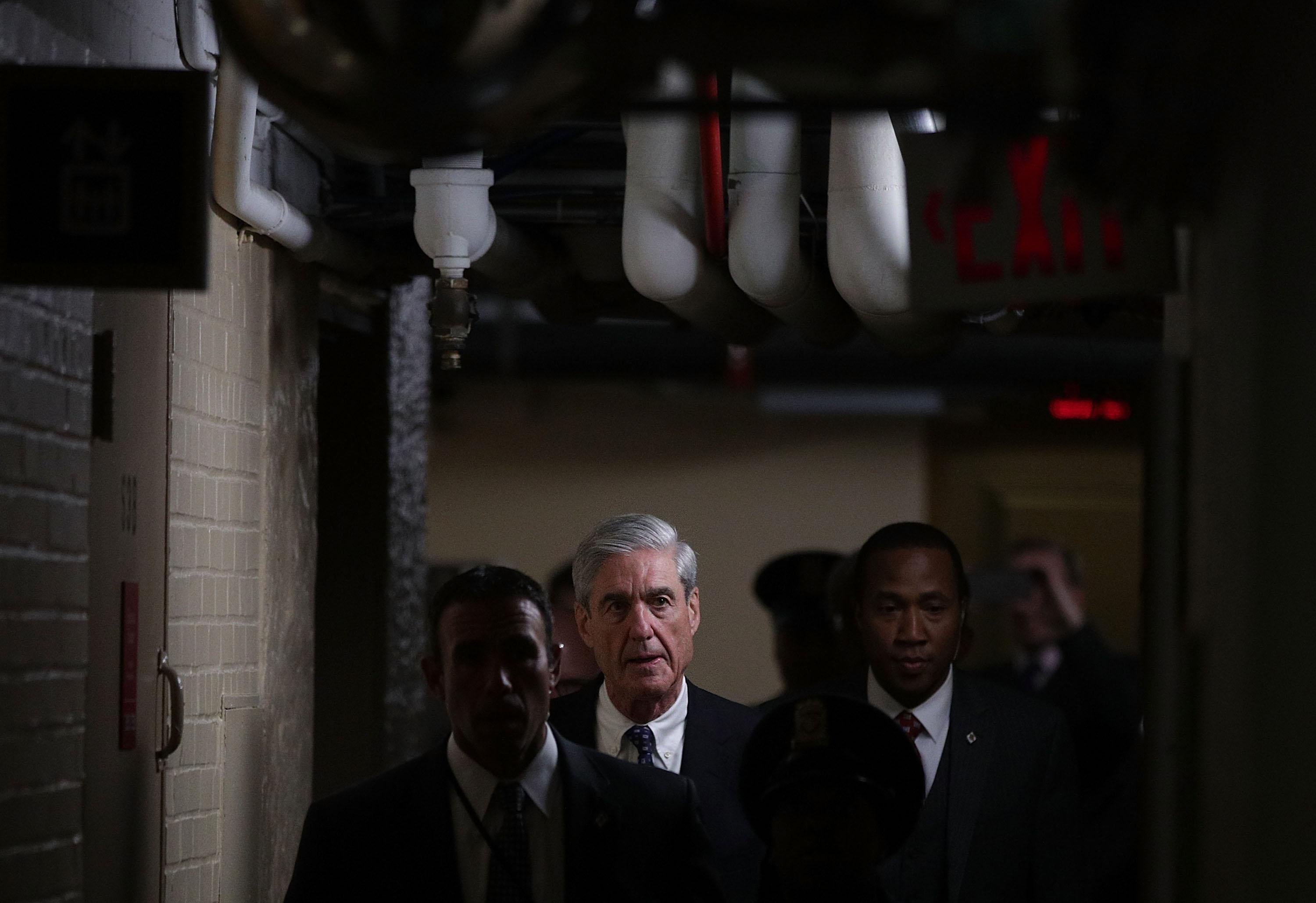 Special counsel Robert Mueller leaves after a closed meeting with members of the Senate Judiciary Committee June 21, 2017 at the Capitol in Washington, DC.