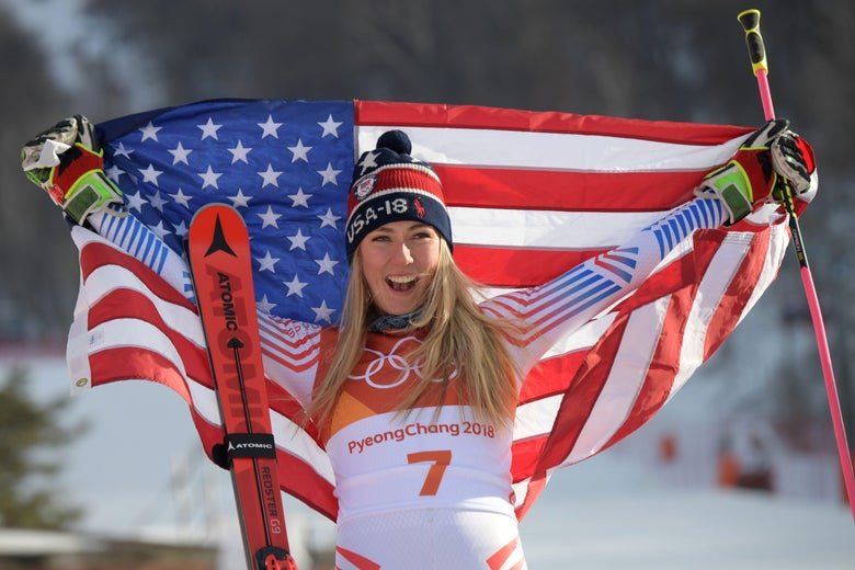USA's winner Mikaela Shiffrin poses on the podium during the victory ceremony for the women's Giant Slalom at the Yongpyong Alpine Centre during the Pyeongchang 2018 Winter Olympic Games in Pyeongchang on February 15, 2018. / AFP PHOTO / Martin BERNETTI        (Photo credit should read MARTIN BERNETTI/AFP/Getty Images)