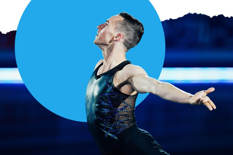 Adam Rippon skating in a black leather tank top with crystals and mesh.