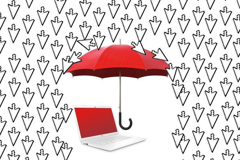An umbrella hovering over a laptop, shielding it from a shower of cursor arrows raining down.