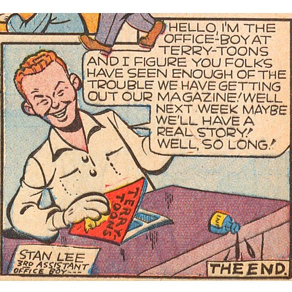 "Stan Lee as ""3rd Assistant Office Boy"" in Terry-Toons Comics No. 12, cover-dated September 1943."