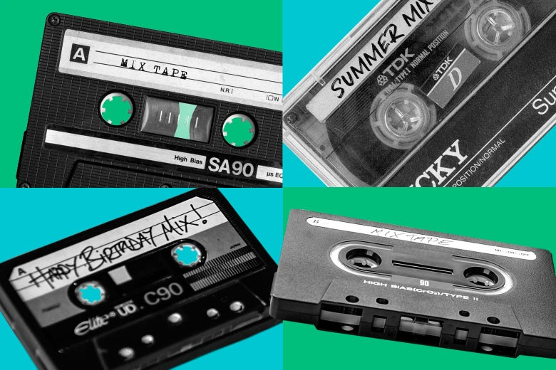 Set of 4 cassette tapes with Mix Tape on them.