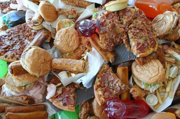A pile of junk food
