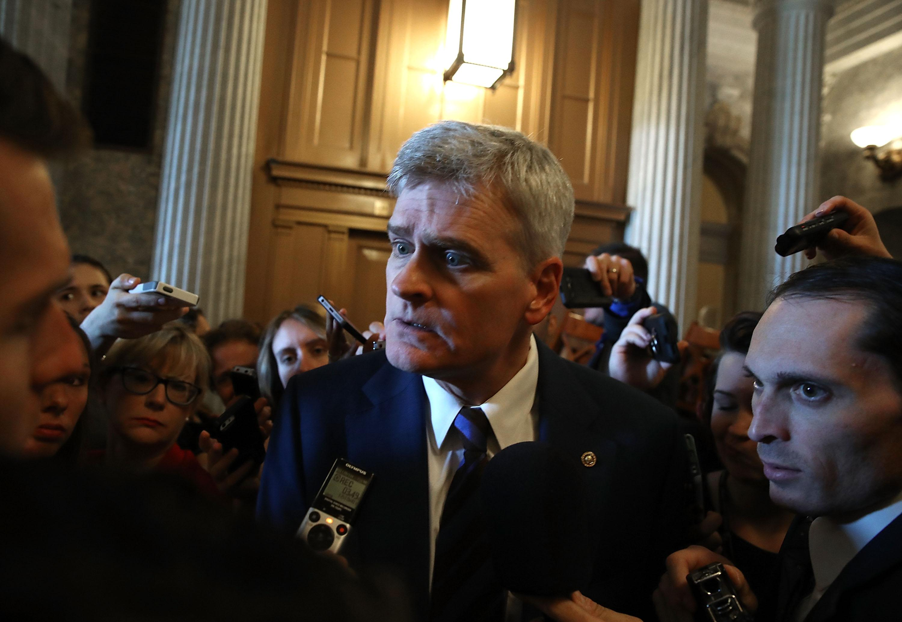 WASHINGTON, DC - JUNE 22:  Senator Bill Cassidy (R-LA) speaks to reporters after attending a closed meeting with Senate Republicans on Capitol Hill, on June 22, 2017 in Washington, DC. The meeting was held so Senate GOP lawmakers could get the first look at the health care bill intended to replace the Affordable Care Act.  (Photo by Mark Wilson/Getty Images)