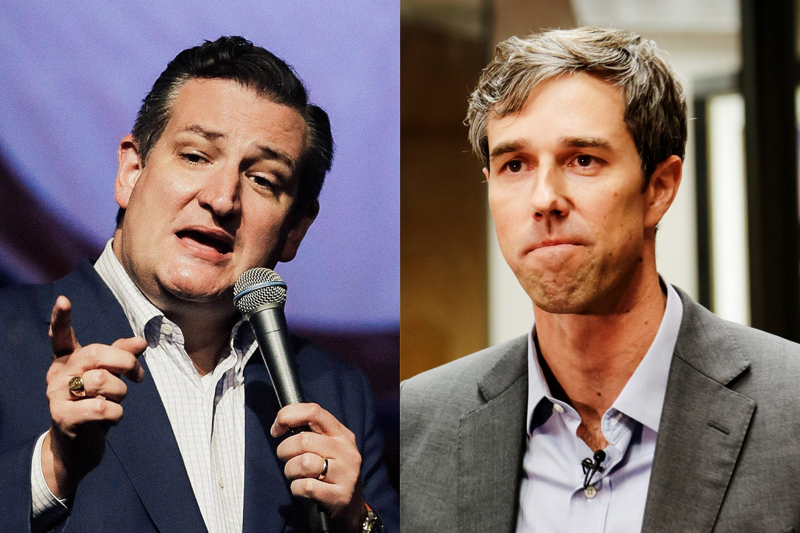 Side by side: Texas Sen. Ted Cruz and U.S. Representative Beto O'Rourke of Texas.