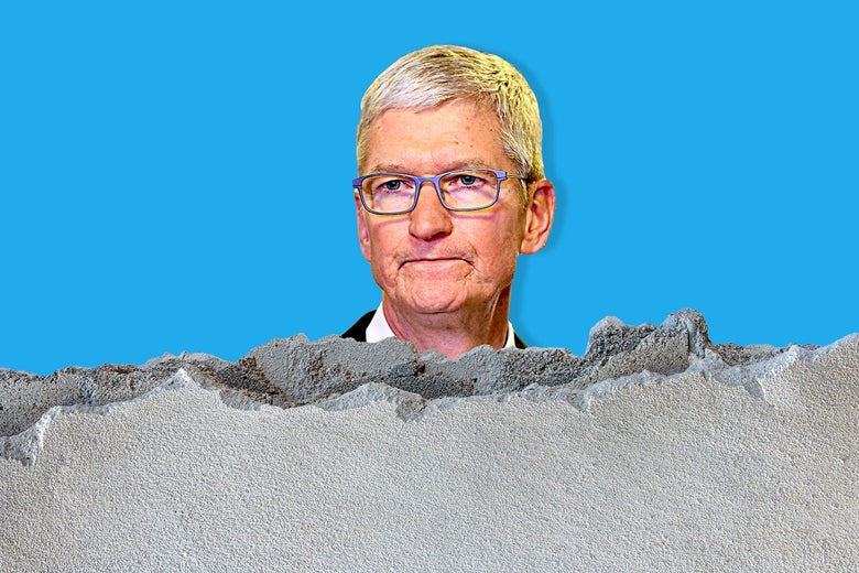 Tim Cook peering over a crumbling concrete wall.