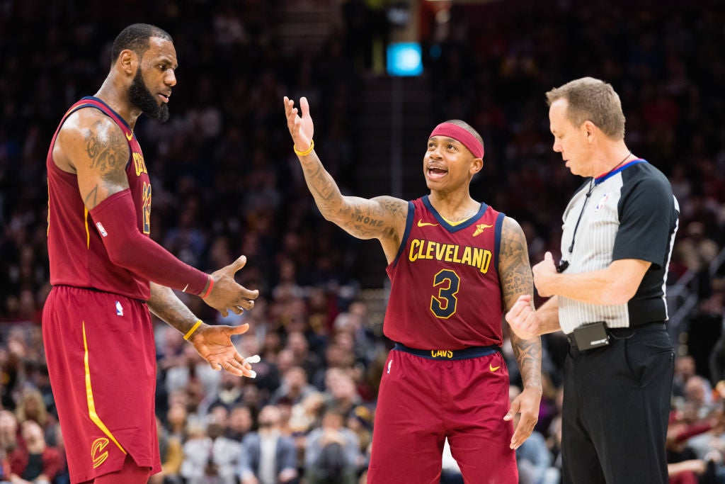 LeBron James and the newly traded Isaiah Thomas during a game on Jan. 2. in Cleveland.