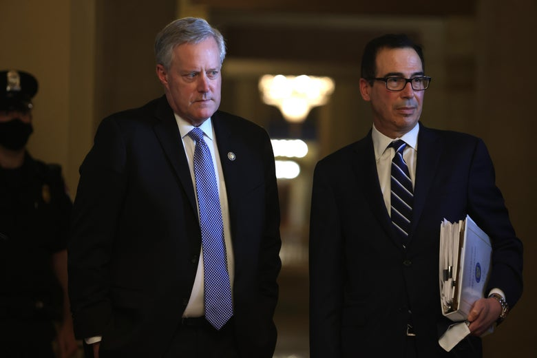 U.S. Secretary of the Treasury Steven Mnuchin and White House Chief of Staff Mark Meadows listen to questions from the media after a meeting with Senate Majority Leader Mitch McConnell (R-KY) at the U.S. Capitol August 4, 2020 in Washington, DC.