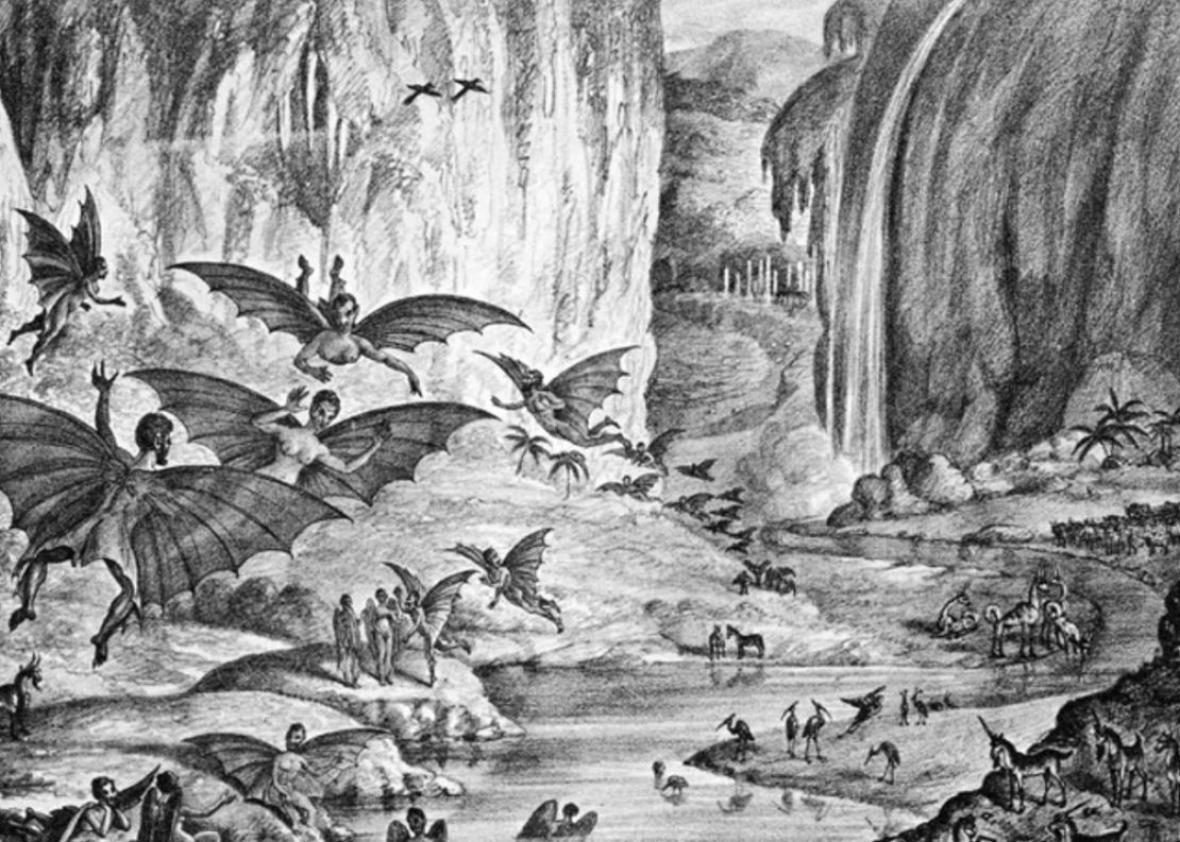 A hoax illustration depicting winged creatures living on the moon.