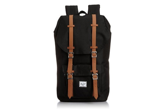 Black Herschel Supple Co. Little America backpack.