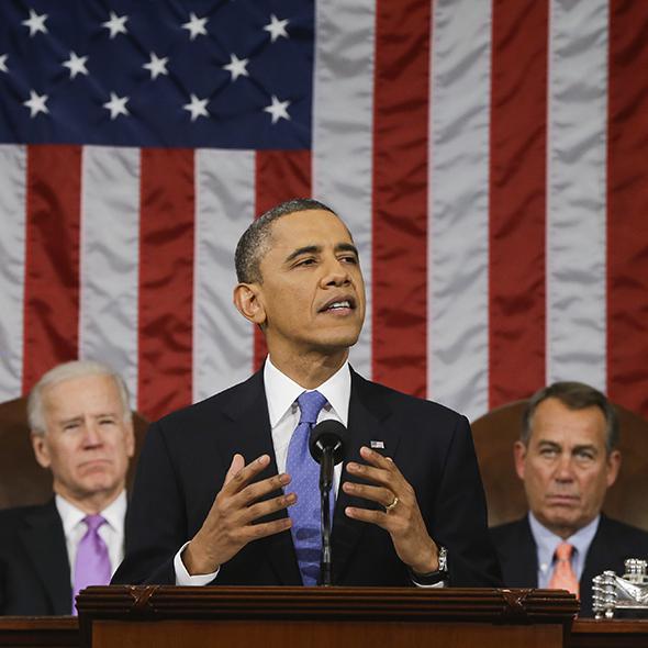 President Barack Obama delivering SOTU 2013