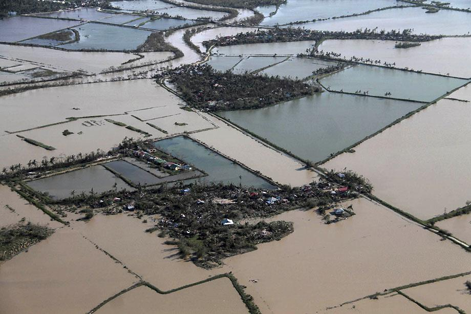 An aerial view shows flooded rice fields after Typhoon Haiyan hit Iloilo Province, central Philippines November 9, 2013. One of the strongest typhoons ever to make landfall devastated central Philippines.
