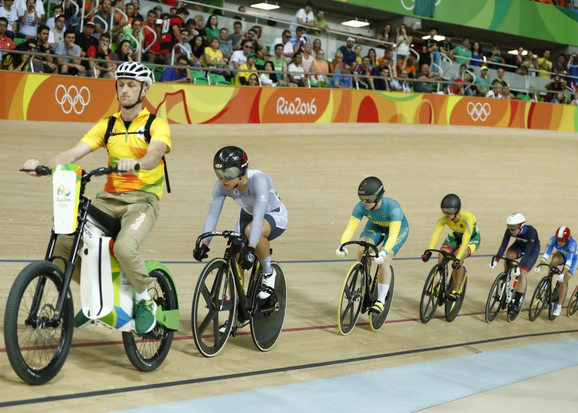 3d382877e88 The track-cycling electric-bike guy leads the women's keirin track cycling  event at the Olympics in Rio de Janeiro on Aug. 13, 2016.