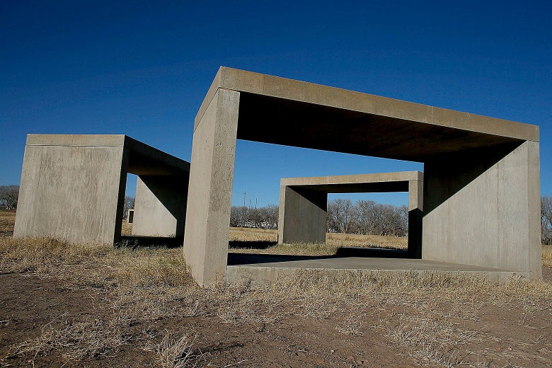 A view of the concrete art works by Donald Judd that run along the border of Chinati's Foundation property on Dec. 26, 2012 in Marfa, Texas.
