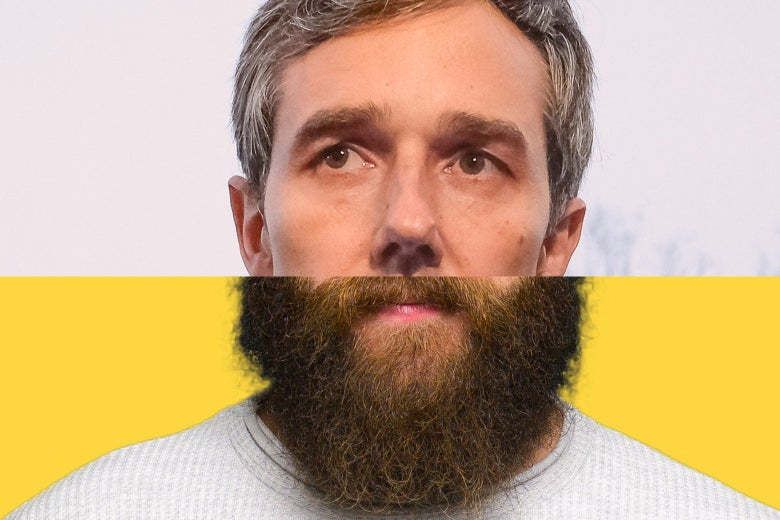 The top of Beto's face and the bottom of another man's bearded face, spliced together.