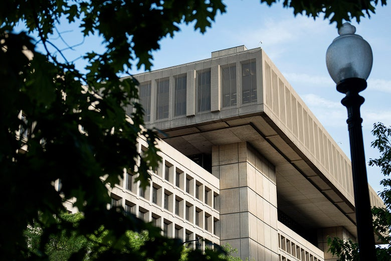 A view of the J. Edgar Hoover Building, the headquarters for the Federal Bureau of Investigation.