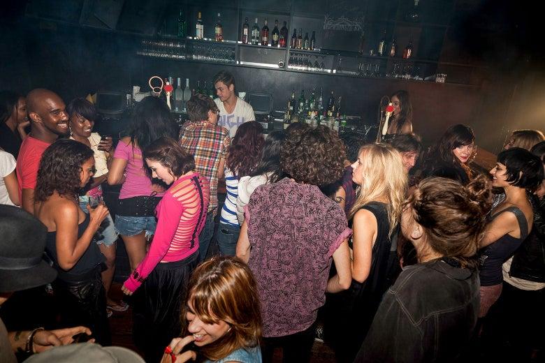A crowded bar.