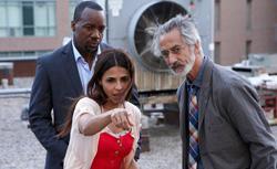Malik Yoba as Bill Harken, Azita Ghanizada as Rachel, David Strathairn as Dr. Lee Rosen in Alphas. Click image to expand.