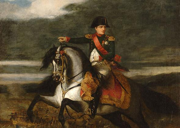 Napoleon on horseback, in the background is the Battle of Wagram in 1843.